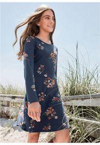 Niebieska sukienka bonprix w kwiaty, z długim rękawem