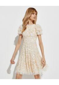 NEEDLE & THREAD - Beżowa sukienka mini Shirley Ribbon. Okazja: na imprezę. Kolor: beżowy. Materiał: tiul. Wzór: aplikacja. Długość: mini