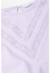 Fioletowa bluzka z długim rękawem Mango Kids casualowa, na co dzień