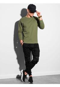 Ombre Clothing - Bluza męska bez kaptura B1153 - khaki - XXL. Typ kołnierza: bez kaptura. Kolor: brązowy. Materiał: poliester, bawełna