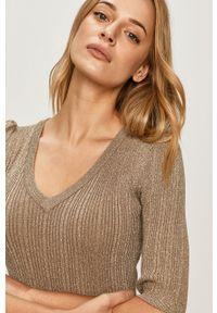 Beżowy sweter Morgan z krótkim rękawem, krótki