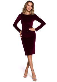MOE - Klasyczna Ołówkowa Sukienka Welurowa - Bordowa. Kolor: czerwony. Materiał: welur. Typ sukienki: ołówkowe. Styl: klasyczny