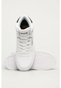Białe buty sportowe Levi's® na spotkanie biznesowe, z cholewką, na sznurówki