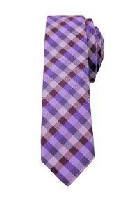 Alties - Fioletowy Stylowy Krawat (Śledź) Męski -ALTIES- 5 cm, Wąski, Wrzosowy w Drobną Kratkę. Kolor: fioletowy. Materiał: tkanina. Wzór: kratka. Styl: elegancki