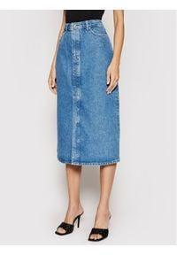 Samsoe & Samsoe - Samsøe Samsøe Spódnica jeansowa Silvia F21200170 Niebieski Slim Fit. Kolor: niebieski. Materiał: jeans