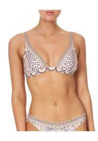 Camilla - CAMILLA - Top do bikini All Is Nouveau. Kolor: brązowy. Materiał: tkanina, nylon. Wzór: motyw zwierzęcy, aplikacja, nadruk