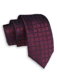 Alties - Bordowy Elegancki Męski Krawat -ALTIES- 6 cm, Klasyczny, w Granatową Kratkę. Kolor: niebieski, czerwony, wielokolorowy. Materiał: tkanina. Wzór: kratka. Styl: klasyczny, elegancki