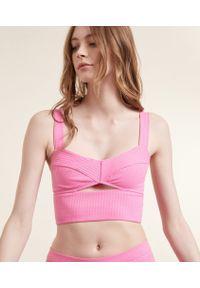 Crop Cut Out Braletka Crop Top - Xs - Różowy - Etam. Kolor: różowy. Materiał: prążkowany. Wzór: ażurowy