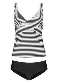 Tankini (2 części) bonprix czarno-biały w paski. Kolor: czarny. Wzór: paski