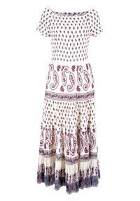 Sukienka midi w deseń paisley bonprix biel wełny z nadrukiem. Kolor: biały. Materiał: wełna. Wzór: nadruk, paisley. Styl: boho. Długość: maxi, midi