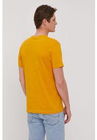 Żółty t-shirt s.Oliver z nadrukiem, casualowy, na co dzień