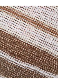 PESERICO - Sweter w brązowe paski. Kolor: brązowy. Materiał: len, bawełna. Wzór: paski. Styl: elegancki, klasyczny