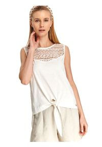 Biała bluzka TOP SECRET na lato, w ażurowe wzory, bez rękawów