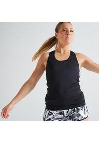 DOMYOS - Top fitness MY TOP. Kolor: czarny. Materiał: poliester, materiał, elastan. Sport: fitness