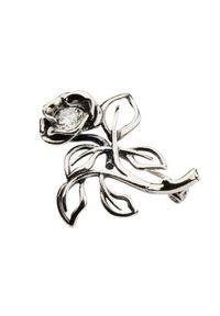 Polcarat Design - Srebrna broszka z cyrkonią B 127. Materiał: srebrne. Kolor: srebrny. Wzór: aplikacja. Kamień szlachetny: cyrkonia