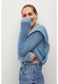 mango - Mango - Kardigan NAIA. Okazja: na co dzień. Kolor: niebieski. Materiał: dzianina. Długość rękawa: długi rękaw. Długość: długie. Wzór: ze splotem. Styl: casual