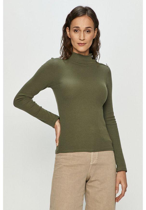 Zielony sweter Haily's z golfem, z długim rękawem, długi