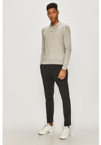 Szary sweter AllSaints krótki, z długim rękawem