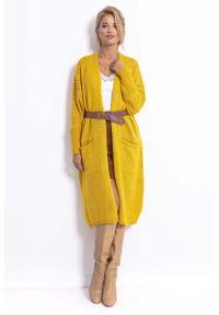 Fobya - Długi Kardigan z Ażurem na Rękawach - Żółty. Kolor: żółty. Materiał: wełna, poliester, akryl, poliamid. Długość: długie. Wzór: ażurowy