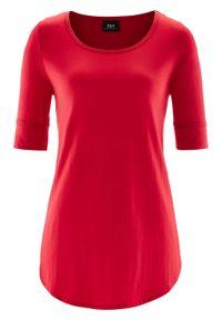 Długi shirt, krótki rękaw bonprix czerwony. Kolor: czerwony. Materiał: wiskoza. Długość rękawa: krótki rękaw. Długość: krótkie
