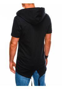 Ombre Clothing - Bluza męska rozpinana z krótkim rękawem B960 - czarna - XXL. Typ kołnierza: kaptur. Kolor: czarny. Materiał: dzianina, bawełna, poliester. Długość rękawa: krótki rękaw. Długość: krótkie. Wzór: gładki