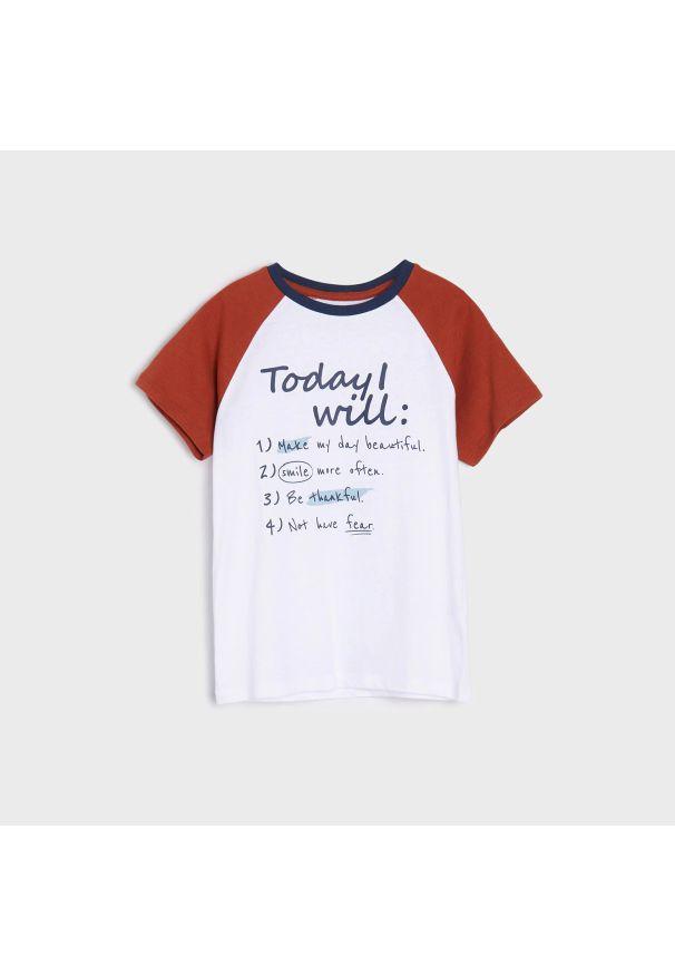 Sinsay - Koszulka z raglanowym rękawem - Biały. Kolor: biały. Długość rękawa: raglanowy rękaw