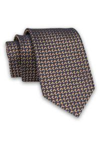 Granatowo-Pomarańczowy Krawat -Chattier- 7 cm, Klasyczny, Elegancki, w Drobny Wzór Geometryczny. Kolor: niebieski. Materiał: tkanina. Wzór: geometria. Styl: klasyczny, elegancki