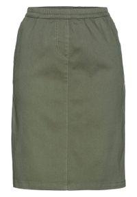 Spódnica bez zamka w talii bonprix oliwkowy. Kolor: zielony. Styl: klasyczny