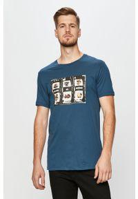 T-shirt John Frank z nadrukiem, na co dzień, casualowy