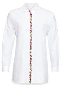 Biała bluzka bonprix z koszulowym kołnierzykiem, długa