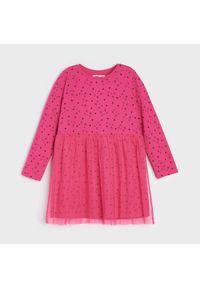 Sinsay - Sukienka z nadrukiem w koty - Różowy. Kolor: różowy. Wzór: nadruk