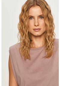Fioletowa bluzka Vero Moda z okrągłym kołnierzem, casualowa, na co dzień