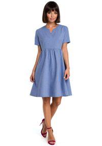 MOE - Niebieska Rozkloszowana Sukienka Mini Odcinana pod Biustem. Kolor: niebieski. Materiał: len, poliester. Długość: mini