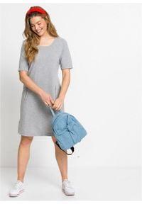 Sukienka dresowa bonprix szary melanż. Kolor: szary. Materiał: dresówka. Wzór: melanż