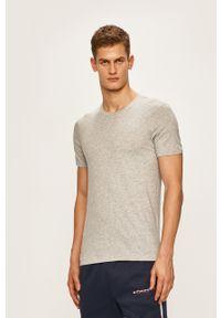 Armani Exchange - T-shirt. Okazja: na co dzień. Kolor: szary. Materiał: dzianina. Wzór: gładki. Styl: casual