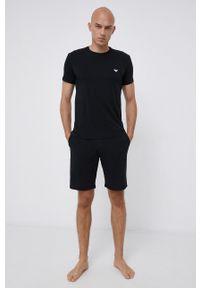 Emporio Armani Underwear - Piżama. Kolor: czarny. Materiał: dzianina, materiał. Wzór: nadruk