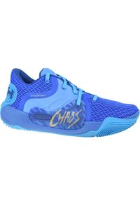 Niebieskie buty do koszykówki Under Armour w kolorowe wzory, z cholewką