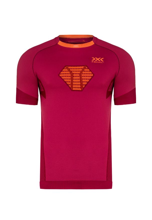 Czerwona koszulka termoaktywna X-Bionic z krótkim rękawem, do biegania