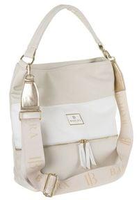 Shopper damski beżowo-biały Badura T_D224BE/BIA_CD. Kolor: biały, wielokolorowy, beżowy. Materiał: skórzane. Rodzaj torebki: na ramię