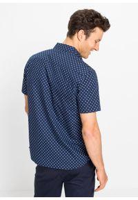 Koszula z krótkim rękawem Slim Fit bonprix ciemnoniebieski. Kolor: niebieski. Długość rękawa: krótki rękaw. Długość: krótkie