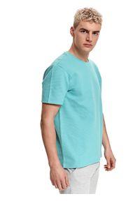 TOP SECRET - T-shirt strukturalny. Kolor: turkusowy. Materiał: tkanina, bawełna. Długość rękawa: krótki rękaw. Długość: krótkie. Wzór: kolorowy. Sezon: lato. Styl: wakacyjny