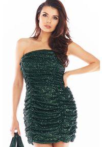 Awama - Cekinowa Sukienka Gorsetowa z Drapowaniem - Zielona. Typ kołnierza: dekolt gorset. Kolor: zielony. Materiał: poliester. Typ sukienki: gorsetowe