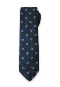 Elegancki Krawat Męski w Niebieski Wzór Paisley -6cm- Alties, Ciemny Niebieski. Kolor: niebieski. Materiał: tkanina. Wzór: kwiaty. Styl: elegancki
