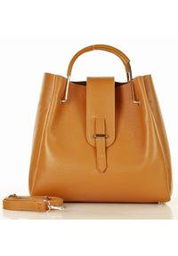 GENUINE LEATHER - MARCO MAZZINI Skórzana Torebka Designerski Kuferek handbag brąz camel. Kolor: brązowy. Materiał: skórzane