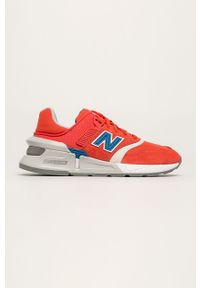 Czerwone buty sportowe New Balance z okrągłym noskiem, na obcasie, na średnim obcasie