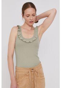 Pepe Jeans - Top Dorina. Kolor: zielony. Materiał: dzianina. Długość rękawa: na ramiączkach. Wzór: gładki