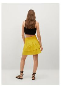 mango - Mango Spódnica mini Laci 87099056 Żółty Regular Fit. Kolor: żółty