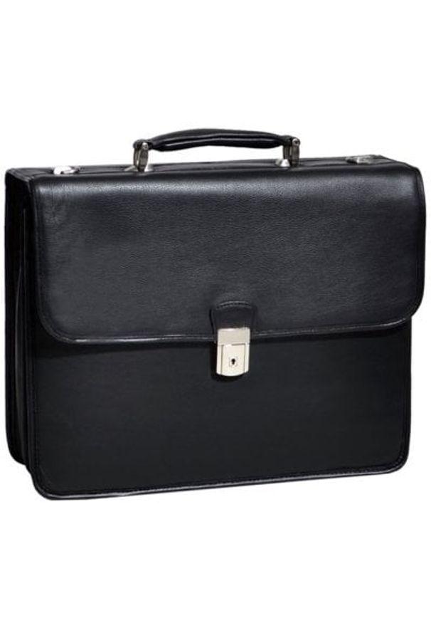 Teczka na laptopa MCKLEIN Ashburn 15.6 cali Czarny. Kolor: czarny. Materiał: skóra. Wzór: aplikacja. Styl: biznesowy, klasyczny