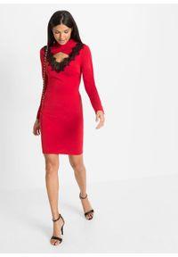 Sukienka z koronkową aplikacją bonprix ciemnoczerwono-czarny. Kolor: czerwony. Materiał: koronka. Wzór: aplikacja
