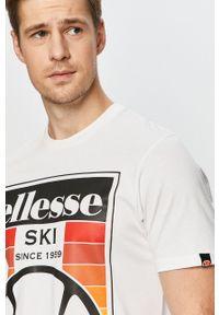Biały t-shirt Ellesse na co dzień, z nadrukiem